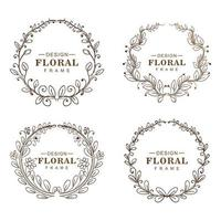 Hand drawn circular ornaments floral frames vector