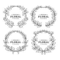 Doodle circular floral decorative frame set design vector