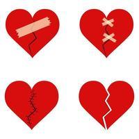 Broken heart set  vector