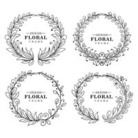 Hand drawn circular ornaments floral frame vector
