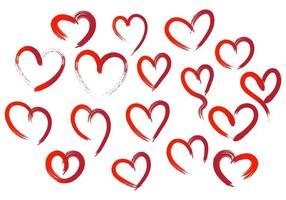 Set of different red hearts vector