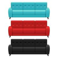Set of realistic sofas  vector