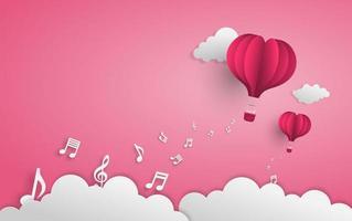 globo de arte de papel volando sobre las nubes con notas musicales vector