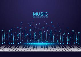 Piano keys with glowing flying music notes