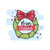 Christmas garland door greeting card