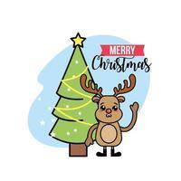 Christmas tree and reindeer greeting card vector