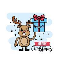 reno de navidad sosteniendo una tarjeta de felicitación de regalo