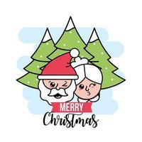 Santa and Mrs. Claus greeting card vector