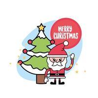Santa Claus and Christmas pine tree greeting card vector