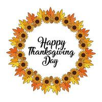 Leaves and sunflower wreath for Thanksgiving greeting card