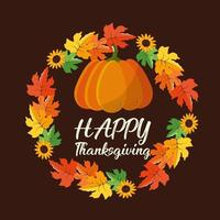 Happy thanksgiving leaves wreath vector