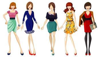 Set of fashionable women  vector