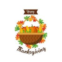 canasta de verduras, tarjeta de felicitación de acción de gracias vector