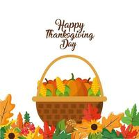 feliz día de acción de gracias tarjeta de felicitación de la cesta vector