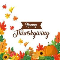 Happy Thanksgiving leaves and pumpkin greeting card