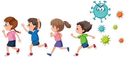 Four kids running away from coronavirus germ