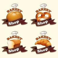 Cartoon bakery shop sign set