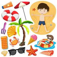Set of kids at beach and summer objects