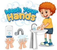 cartel de lavarse las manos con niño lavándose las manos