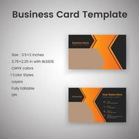 Black and Orange Creative Business Card Template vector