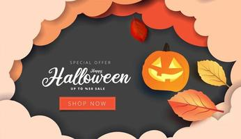 Paper art Halloween sale banner with clouds and leaves vector