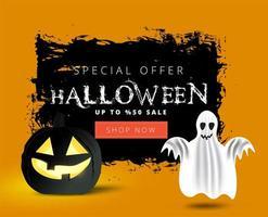 Banner de venta de halloween grunge con fantasma y calabaza