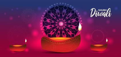 lámpara de aceite realista en gradiente para la celebración del festival diwali vector