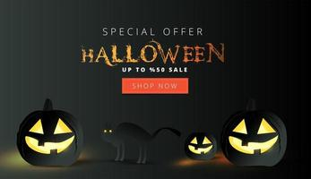 Halloween sale banner with black pumpkins and cat vector