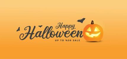 feliz banner de venda de halloween com abóbora brilhante
