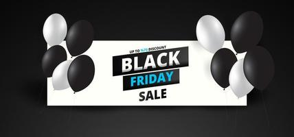 Black Friday sale banner with white and black balloons