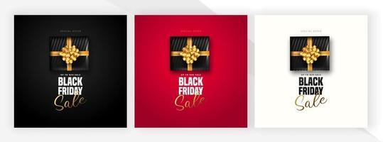 Banner de venta de viernes negro con regalos negros en 3 colores. vector