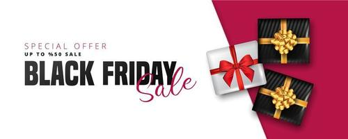 Black Friday sale banner with white and black gift boxes