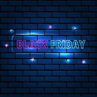 letrero de neón de viernes negro en textura de ladrillo vector