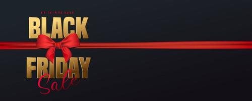 Black friday sale banner with gold text and red ribbon vector