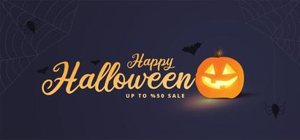 Glowing pumpkin Halloween sale promotion poster vector