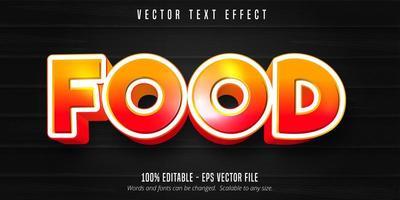 texto de comida, efecto de texto editable de estilo de dibujos animados