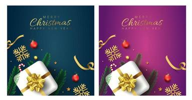 Merry Christmas cards with stars, branches and gifts
