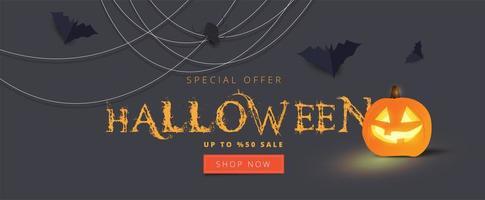 Happy Halloween calligraphy with spiders, bats on gray vector