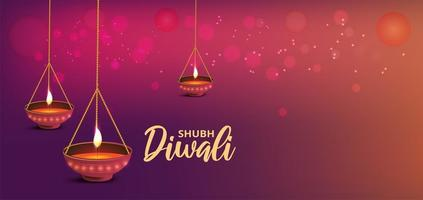Diwali banner with hanging realistic oil lamps on gradient