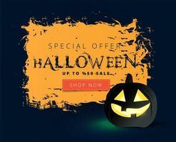 Orange grunge Halloween Sale banner with black pumpkin vector