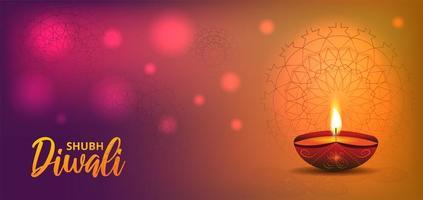 Diwali orange pinke banner design with realistic oil lamp