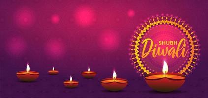 banner de diwali con lámparas de aceite en degradado rosa púrpura