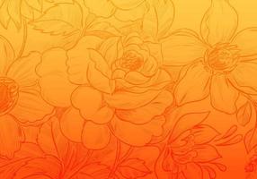 tarjeta floral decorativa degradado naranja amarillo vector