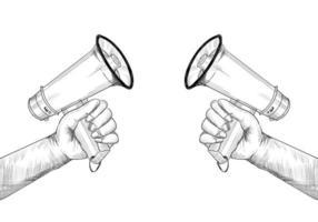 Hands hold megaphones sketch