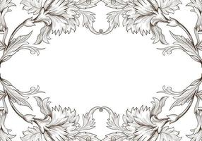 Artistic decorative sketch floral frame vector