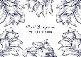 Hand drawn ornament floral blossom frame vector