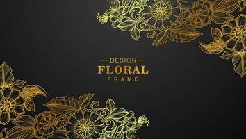 Beautiful golden floral corners on black vector