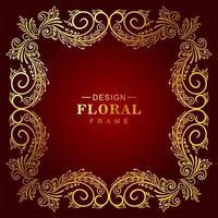 Ornamental golden floral frame on red gradient vector