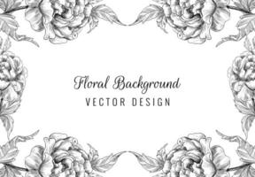 Beautiful hand drawn wedding ornament floral frame vector
