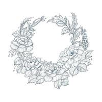 Blue vintage decorative sketch floral wreath